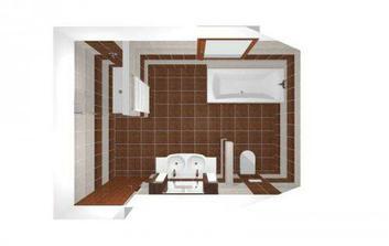 Koupelna v patře (vedle WC ve stěně bude ještě shoz na prádlo, zakrytý jen sklápěcímí dvířky v barvě umyvadlové skříňky)
