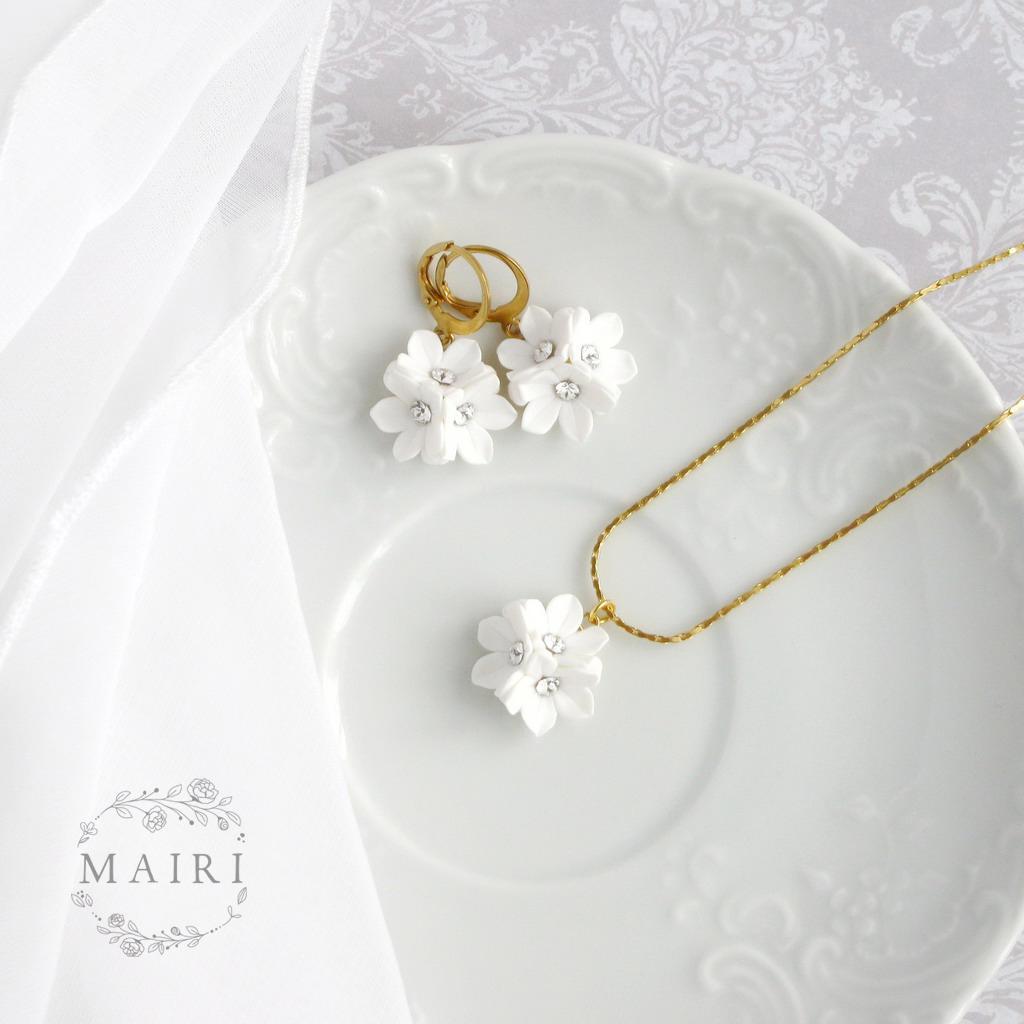 Mairi - pozlacené svatební náušnice bílé - Obrázek č. 2