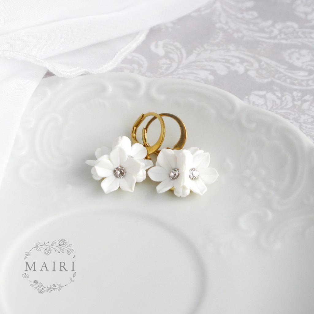 Mairi - pozlacené svatební náušnice bílé - Obrázek č. 3