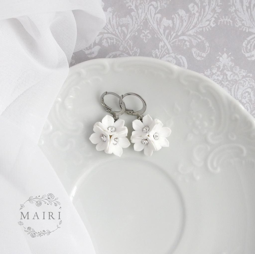 Mairi - svatební náušnice bílé - Obrázek č. 2