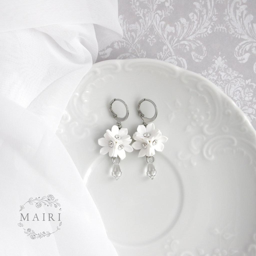 Mairi - svatební náušnice bílé se slzičkami - Obrázek č. 1
