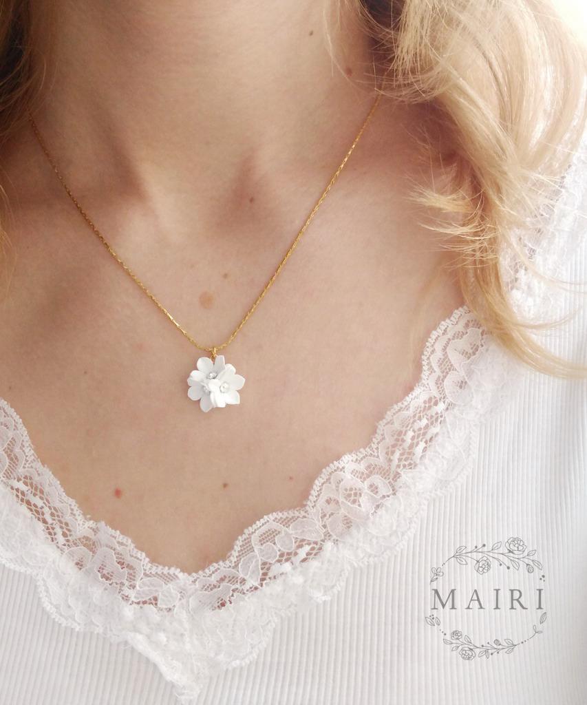 Mairi - pozlacený svatební náhrdelník bílý - Obrázek č. 1