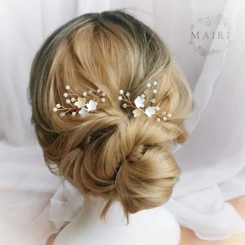 Mairi - svatební ozdoby do vlasů bílé - Obrázek č. 1