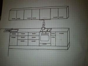 A hlavna pracovna plocha č.2.Neviem či na skrinku zo zabudovanym digestorom dat uchytku do stredu skrinky,alebo ju predelit napoli ako ostatne a dat dve uchytky.Farebnost zostava.