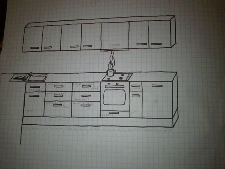 Moja buduca kuchyna - A hlavna pracovna plocha č.2.Neviem či na skrinku zo zabudovanym digestorom dat uchytku do stredu skrinky,alebo ju predelit napoli ako ostatne a dat dve uchytky.Farebnost zostava.