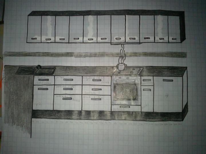 Moja buduca kuchyna - Tretia verzia so zmenou hornych skriniek za klasicke s uchytkou v strede