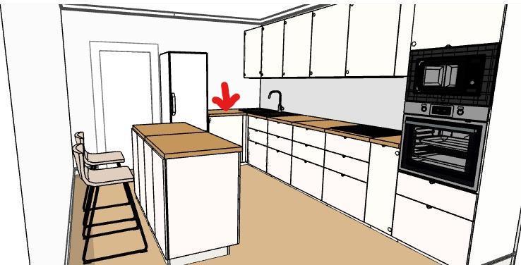 Pěkné odpoledne, prosím má někdo zkušenost s umístěním myčky (označeno červenou šipkou) vůči dřezu, jak vyznačeno na obrázku? Bude tam špatný přístup? Děkuji za všechny reakce a hezký den :-) - Obrázek č. 1