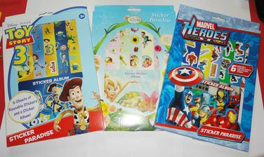 Sticker books for kids area.