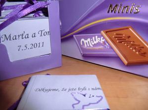 čokoládky pro hosty přední+zadní strana
