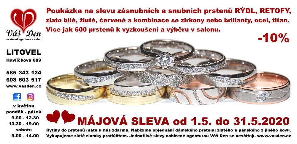 Májová sleva zásnubních a snubních prstenů - 10% - Poukázka na Májovou slevu zásnubních a snubních prstenů.