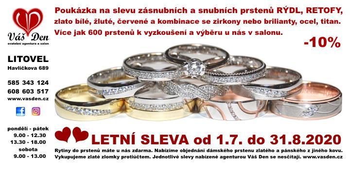 Letní sleva zásnubních a snubních prstýnků -10% - Slevu lze uplatnit pouze v našem salonu v Litovli.
