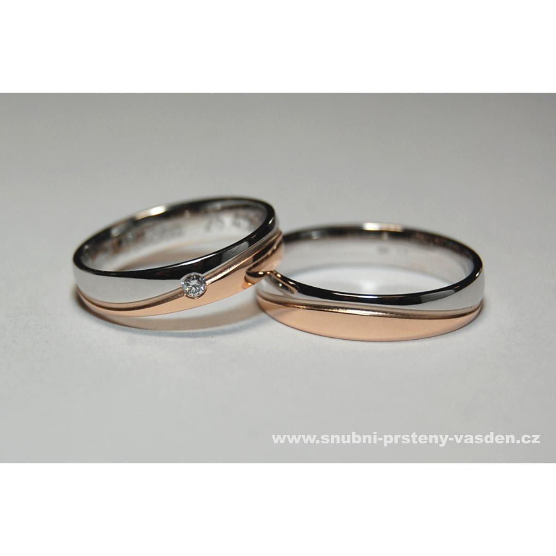 Jarní sleva zásnubních a snubních prstenů -10% - Jarní sleva 10% - snubní prsteny, model 431 v bílém a růžovém zlatě. Cena po slevě je cca 18930 Kč se zirkonem a 20170 Kč s briliantem. Lze uplatnit pouze u nás v Litovli. www.vasden.cz