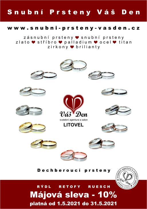 Májová sleva zásnubních a snubních prstenů -10% - http://vasden.cz/