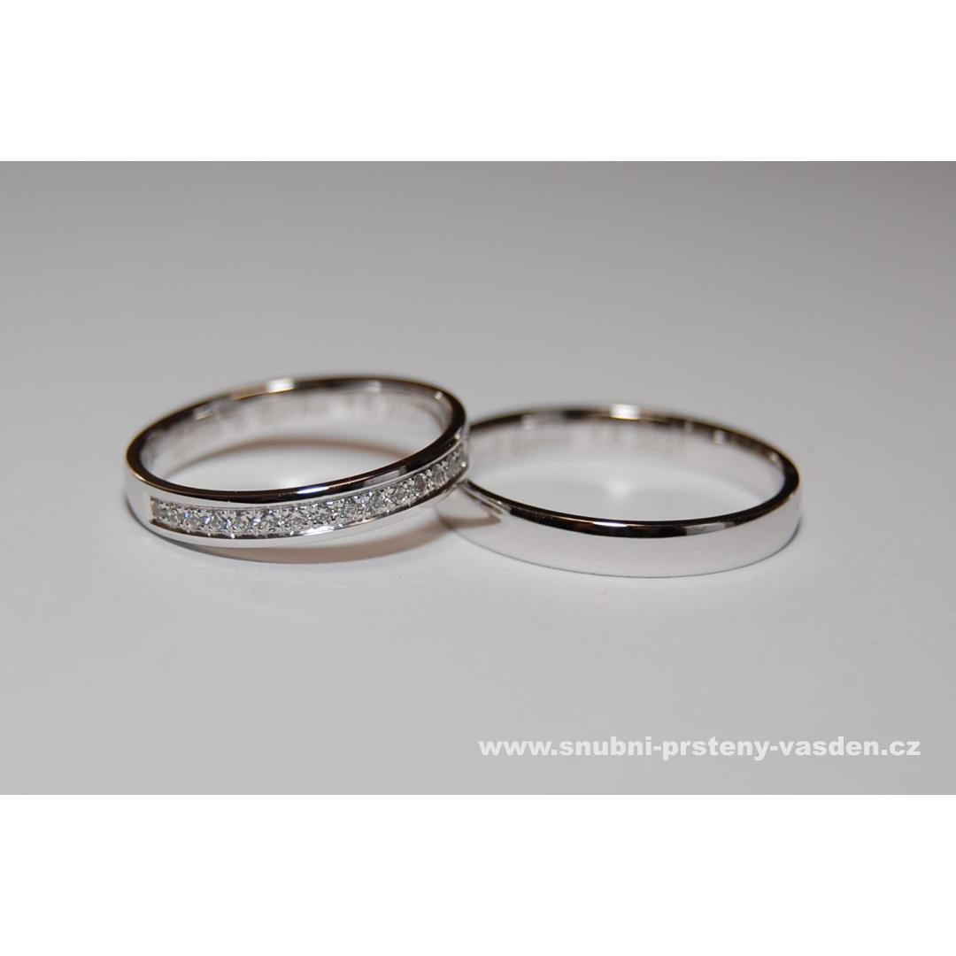 Letní sleva snubních a zásnubních prstenů -10% - Snubní prsteny, model 126 v bílém zlatě. Cena po slevě je cca 14120 Kč se zirkony a 18700 Kč s brilianty.