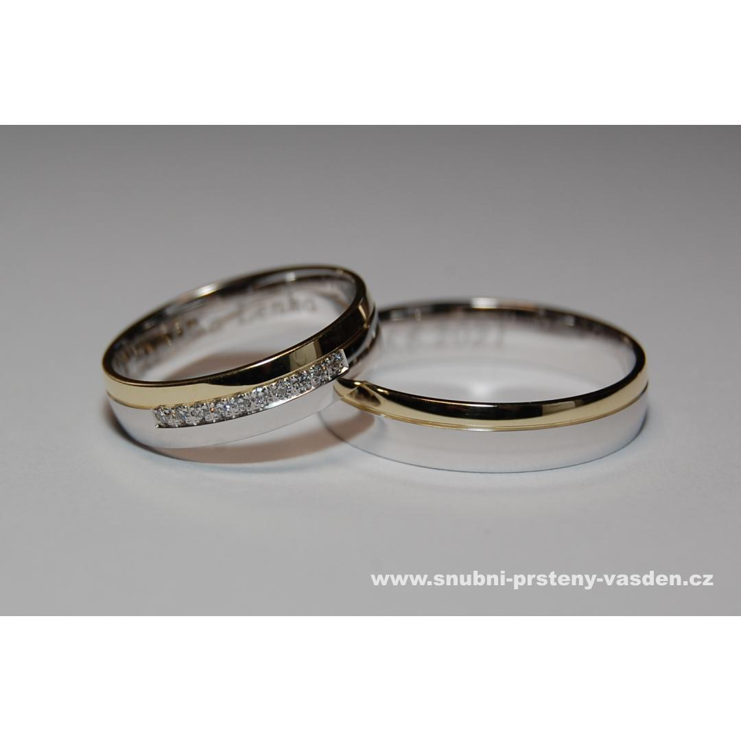 Letní sleva snubních a zásnubních prstenů -10% - Snubní prsteny, model 420 v bílém a žlutém zlatě. Cena po slevě je cca 16600 Kč se zirkony a 19650 Kč s brilianty.