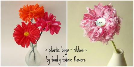 Květinky z plastikových sáčků