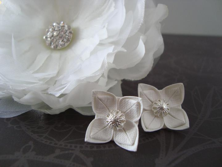 Notre mariage - Svatební naušnice a květina do vlasů