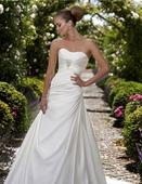 Jednoduché svadobné šaty z bieleho saténu, 38