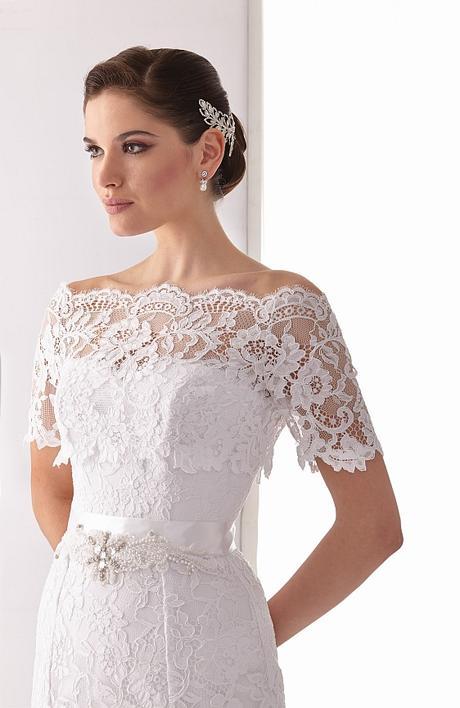 Svadobné šaty z bielej čipky s bolerkom - Obrázok č. 3