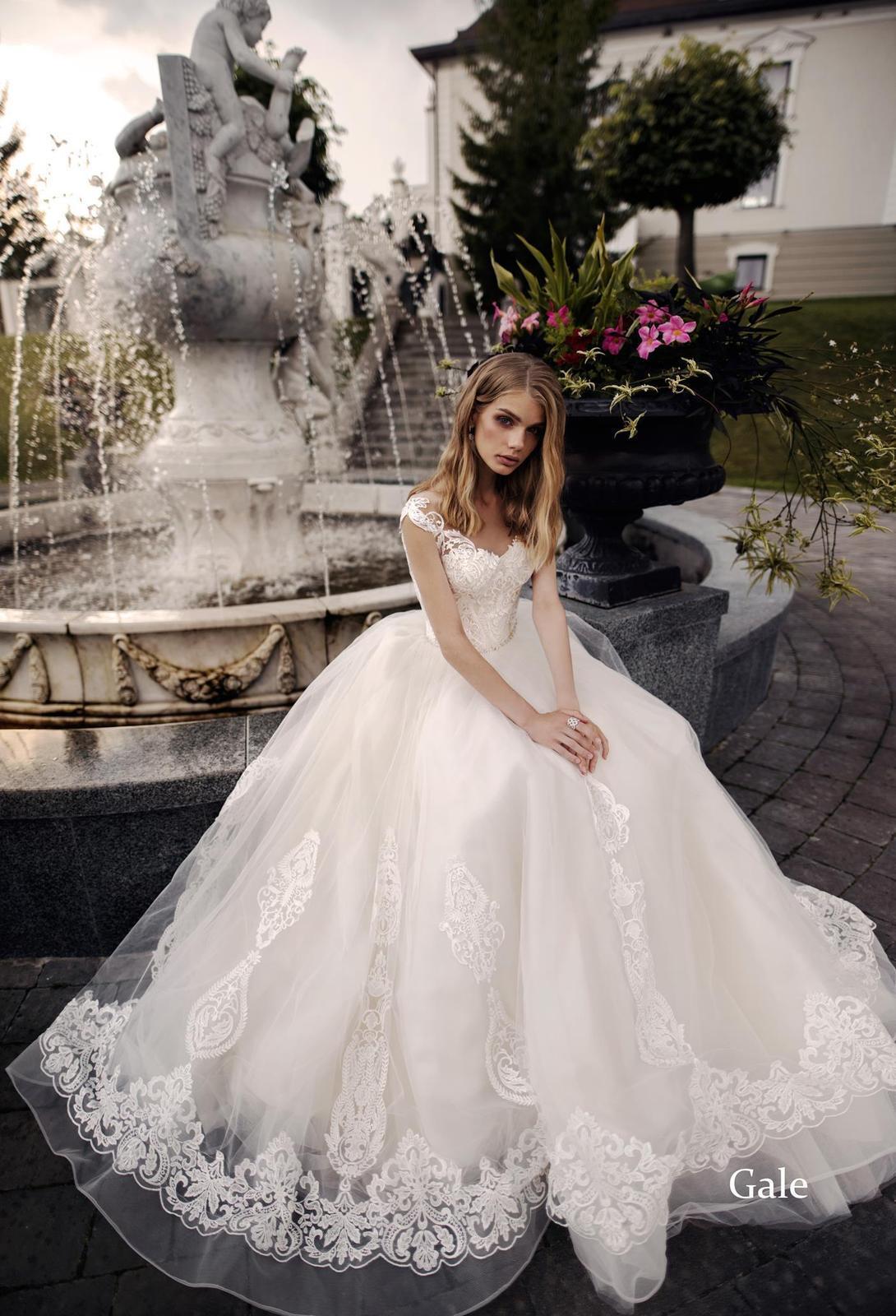 Čipkované svadobné šaty vo farbe ivory/šampaň za 199€ - Obrázok č. 1