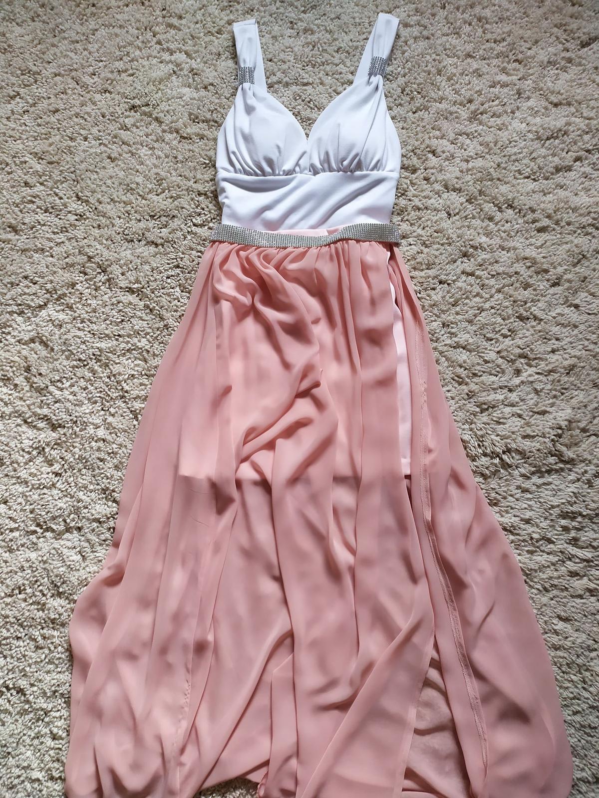 Ružové šaty s odpínacou šifónovou sukňou - Obrázok č. 1