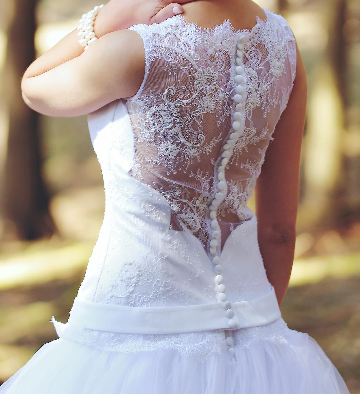Svadobné šaty čipka a tyl (34-36) - Obrázok č. 1