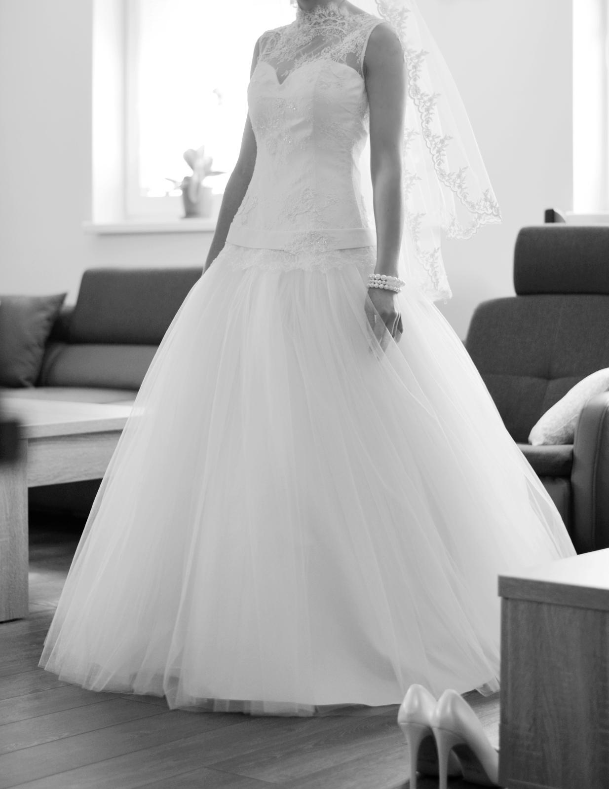 Svadobné šaty čipka a tyl (34-36) - Obrázok č. 2