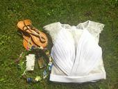 Bílé šaty s krajkovými detaily , 36