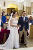 bílé svatební šaty s krajkou a vlečkou, 38