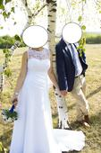 Bílé svatební šaty s vlečkou a krajkou, 40