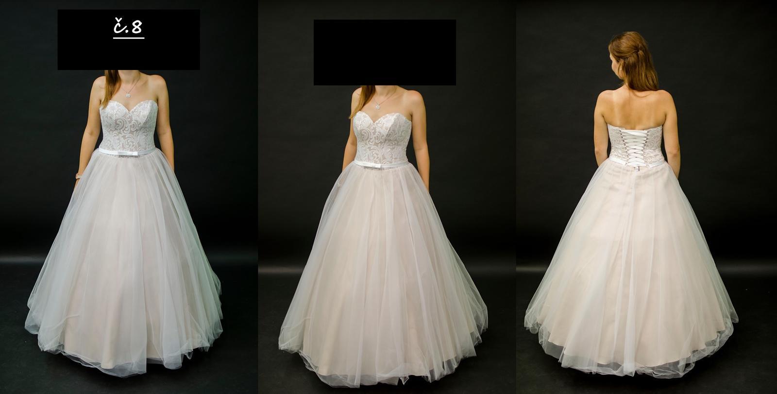 Hnědobílé svatební šaty - Obrázek č. 1