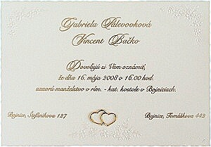 Naše svadobné oznámenia zajednané, len s našimi menami