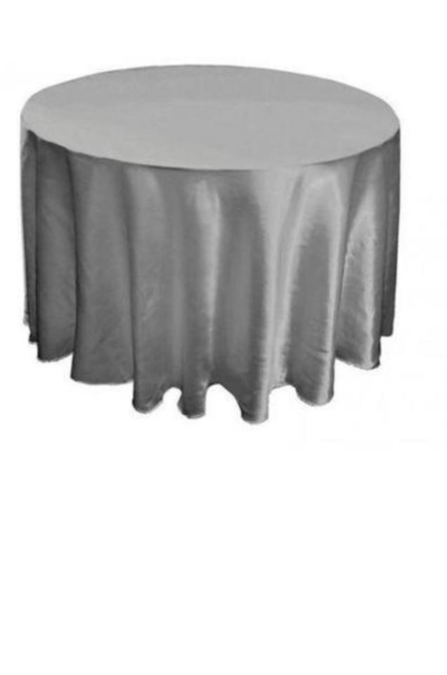 Materiál na prenájom - šedé obrusy saténové