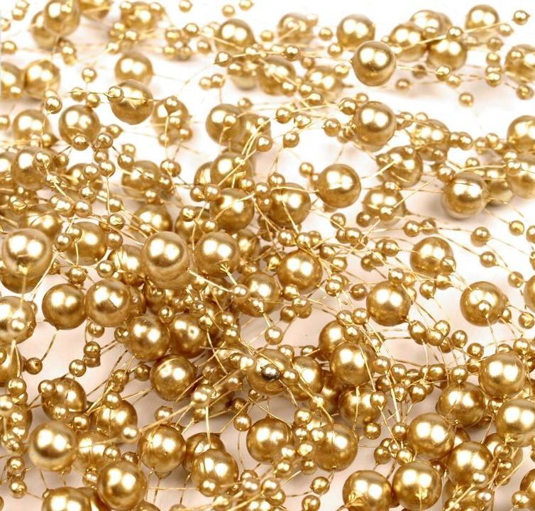 Výpredaj! - Zlatá  Perličková girlanda s priemerom 7mm   Balenie 5ks  Každá má dlžku 1,3m  2,00€