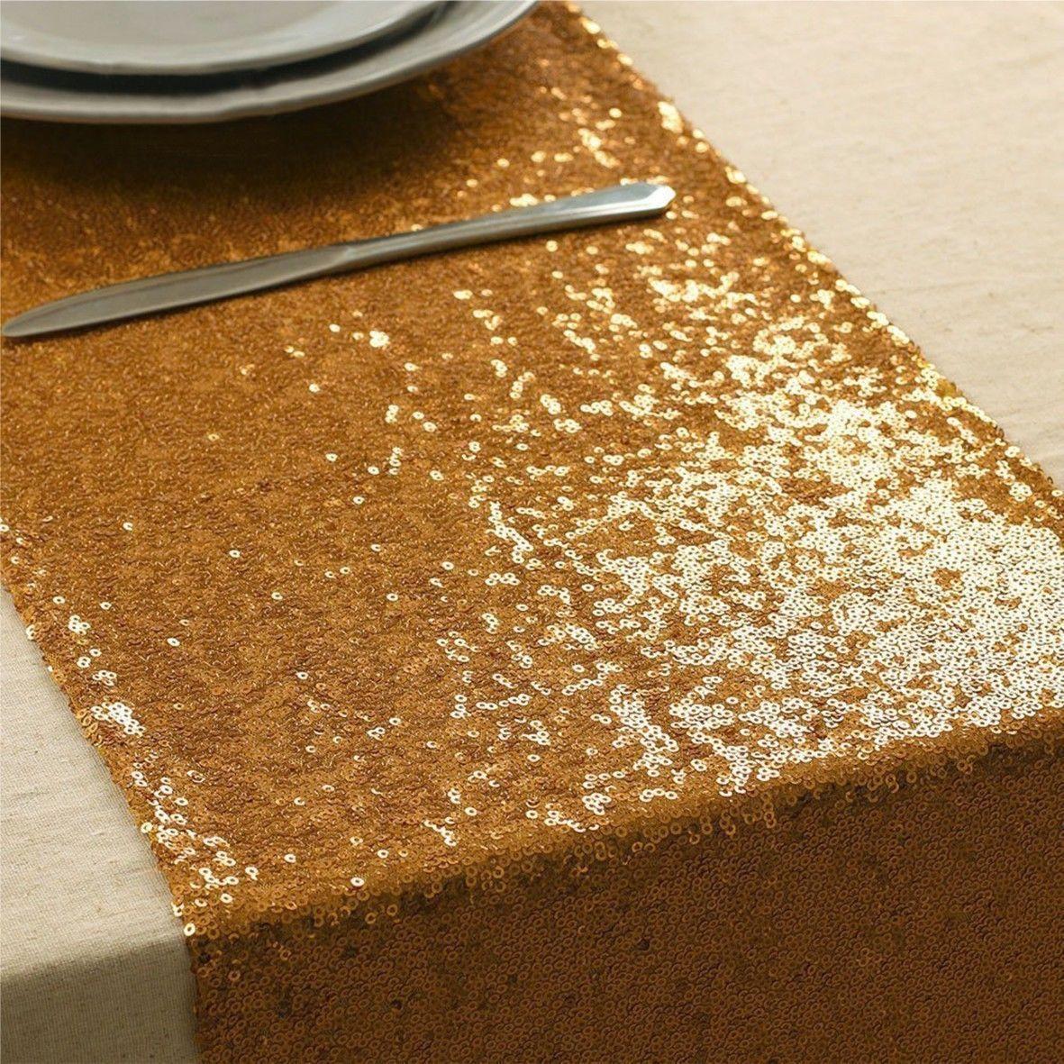 Zlatá glitrová šerpa na stôl - Obrázok č. 1