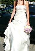 Svadobné šaty s bolerom, kruhom a zavojom, 36
