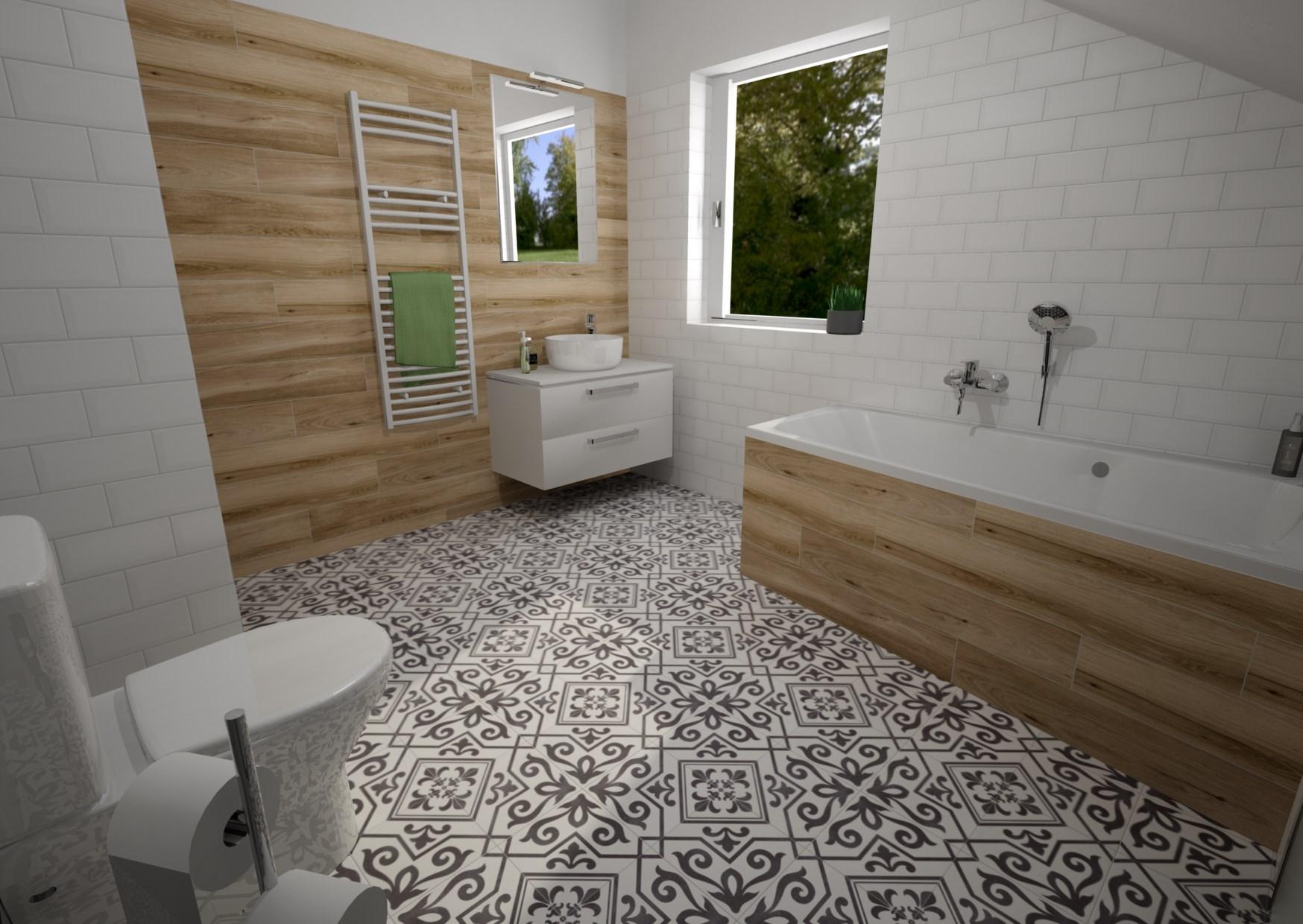 Ahoj všem, chtěla bych poprosit o názor na návrh koupelny:-) V plánu je bílo-dřevo-černá kombinace. Kulaté umyvadlo na desku, černé baterie a kulaté zrcadlo v černém rámu. Co se vám na návrhu líbí/nelíbí? Co byste upravili, změnili...? Předem díky za jakékoliv názory:-) - Obrázek č. 1