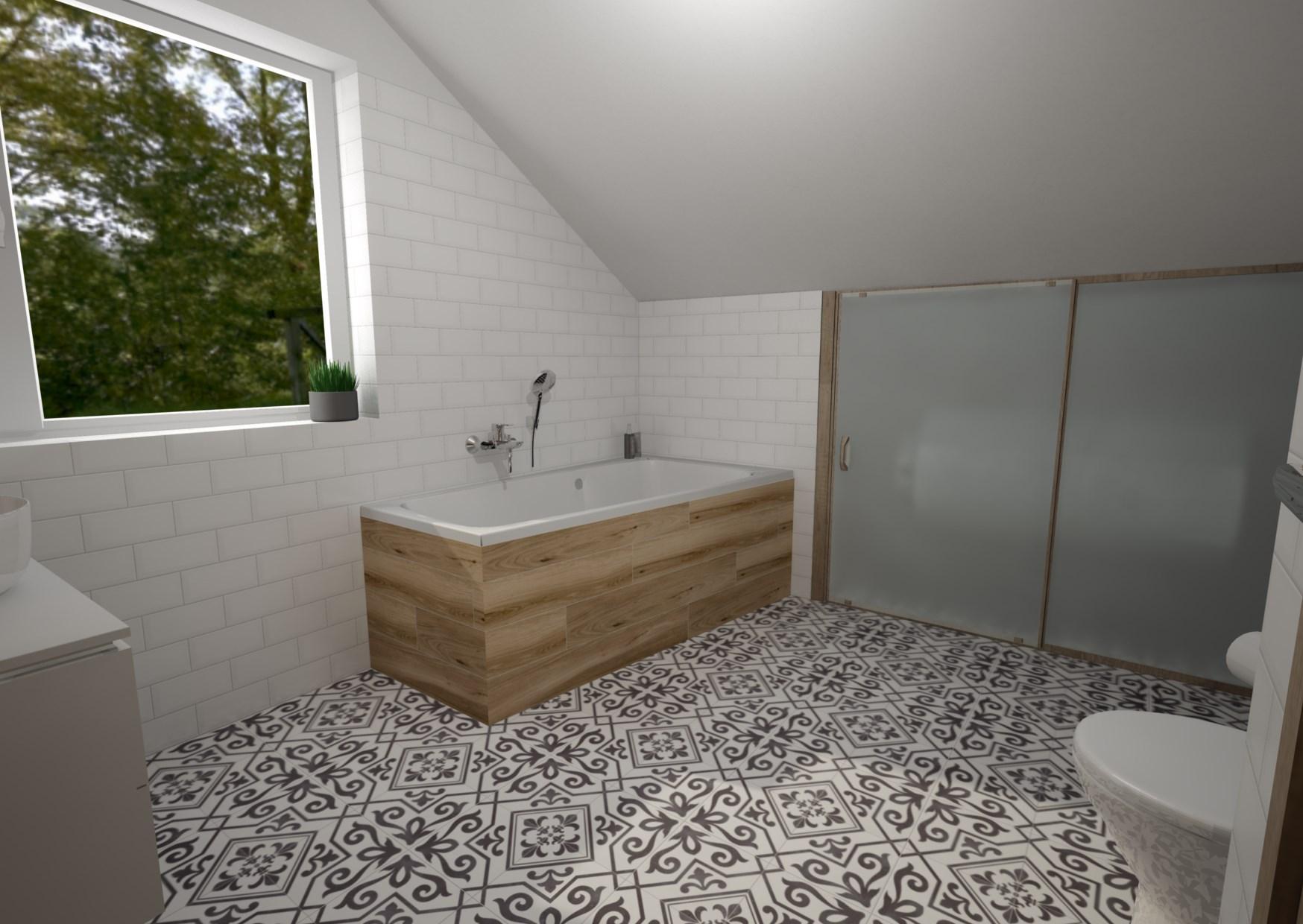 Ahoj všem, chtěla bych poprosit o názor na návrh koupelny:-) V plánu je bílo-dřevo-černá kombinace. Kulaté umyvadlo na desku, černé baterie a kulaté zrcadlo v černém rámu. Co se vám na návrhu líbí/nelíbí? Co byste upravili, změnili...? Předem díky za jakékoliv názory:-) - Obrázek č. 2