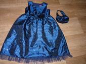 tmavě modré šaty pro družičku + taštička, 98