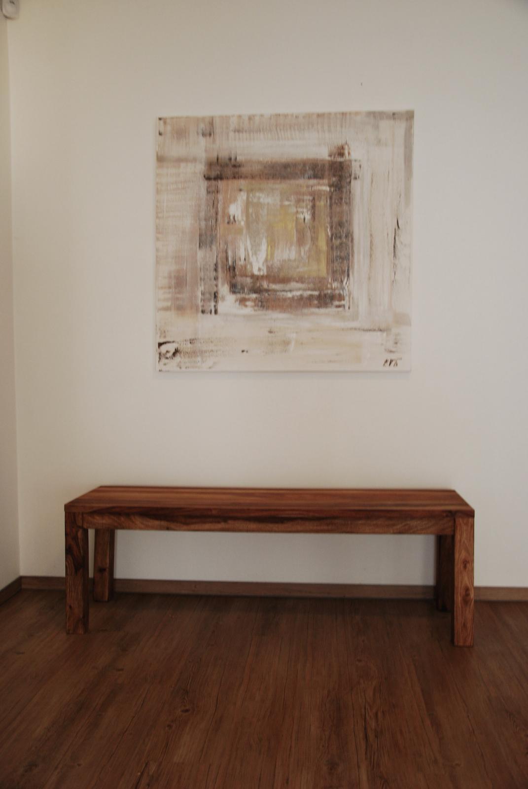 Mé obrazy v interiérech - Zlaté srdce, 100x100 cm, olejomalba na plátně , prodáno