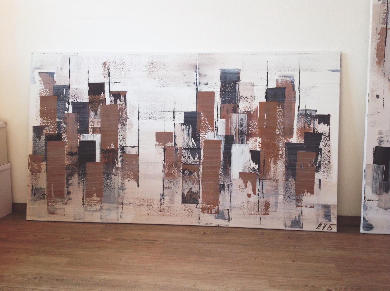 Obrazy na zakázku - Karamelové město II., akryl 2015, 180x110 cm