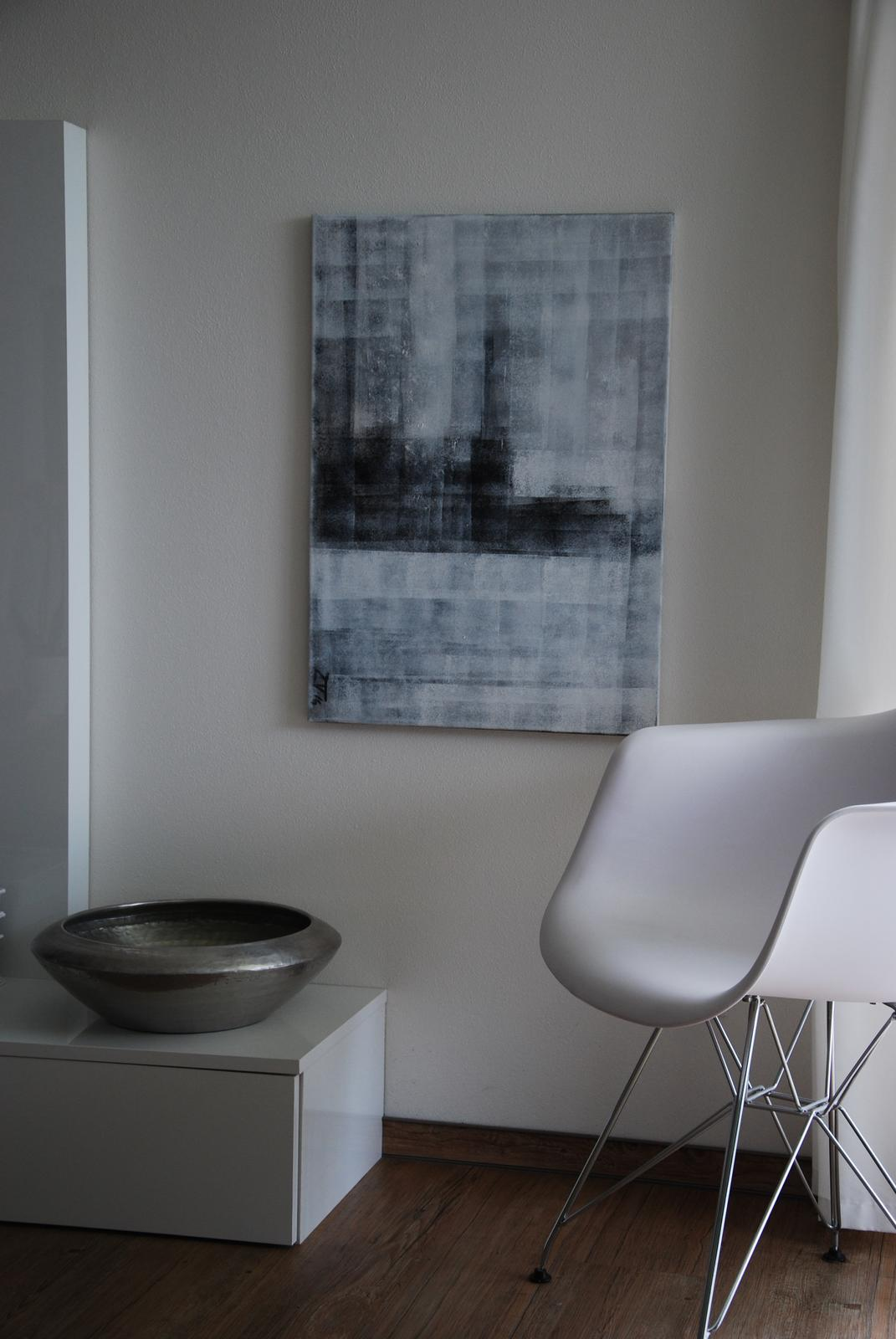 Mé obrazy v interiérech - Geometrie I., akryl 50x70 cm, cena 2300kč