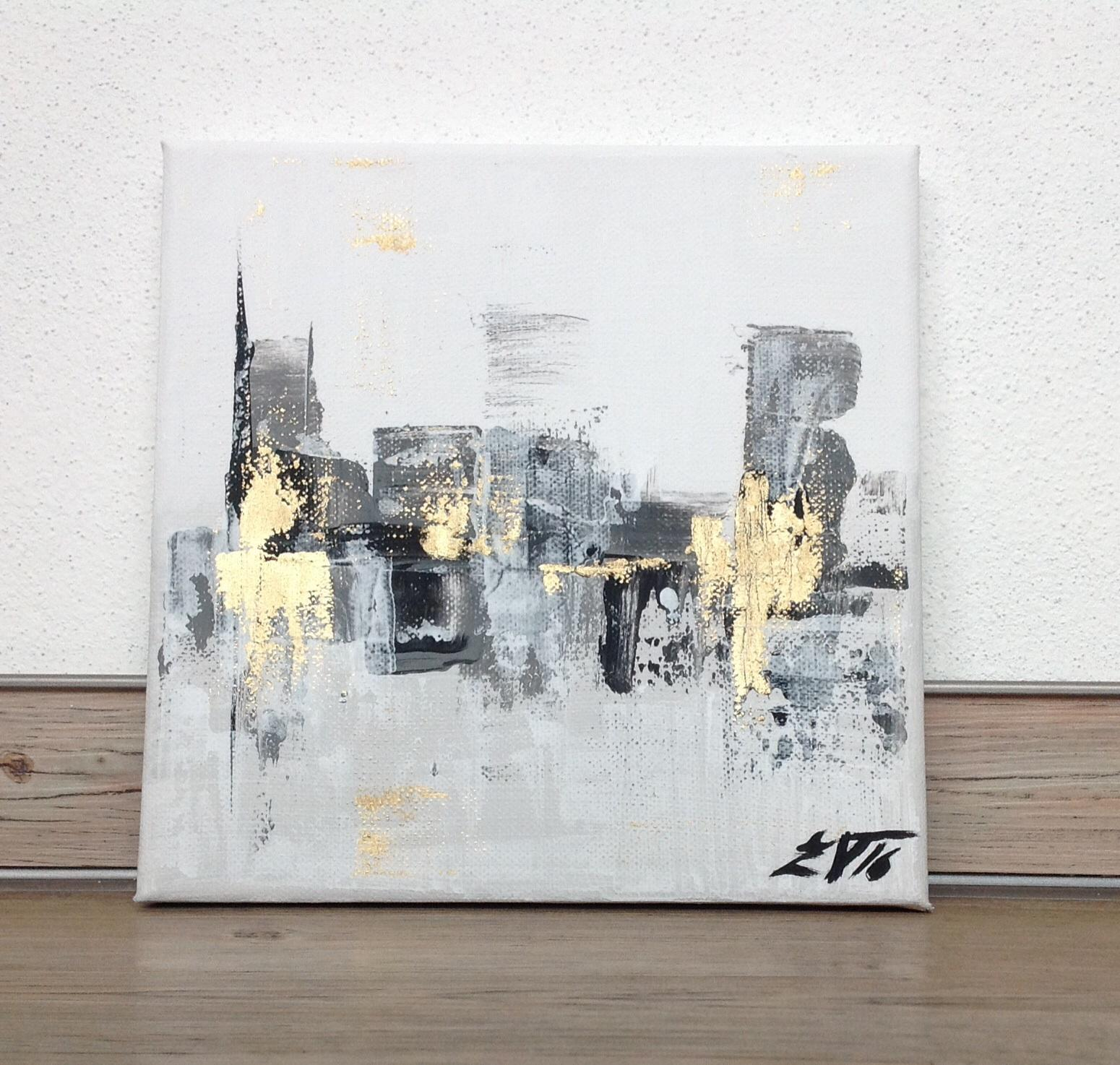 Obrazy na zakázku - Zlatý stín, akryl+olej, 20x20 cm