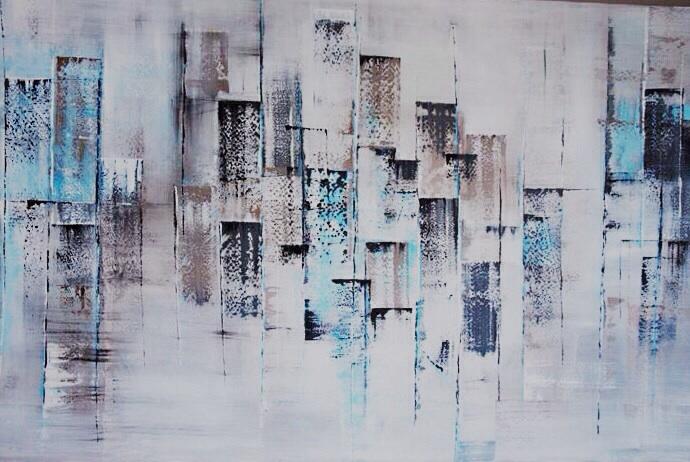 Abstraktní města, přístavy.... - Akvamarínová mlha, akryl 2014