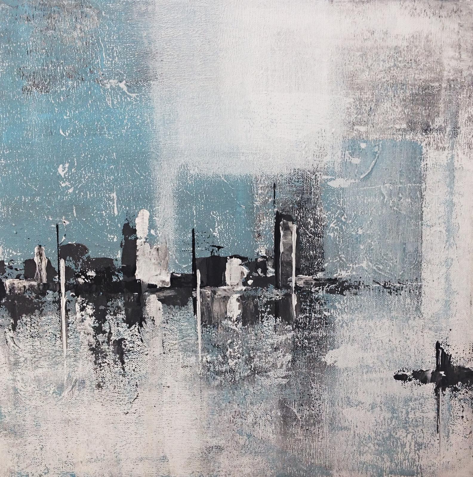 Abstraktní města, přístavy.... - Přístav v modrém I, 40x40 cm, cena 1200kč