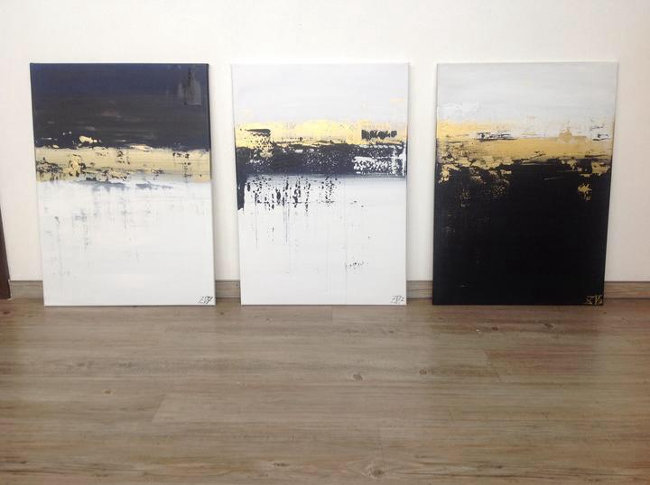 Modrá a zlatá - Pod hladinou I,II, III, akryl 50x70 cm, cena na výstavě jednotlivě:4200,- Nyní 2800,- dohromady za všechny 3: cena 7000,-