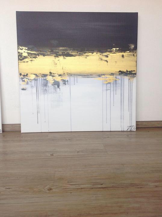 Modrá a zlatá - V hlubinách, akryl, 90x90 cm, cena na výstavě 9600,- Nyní 5600,-