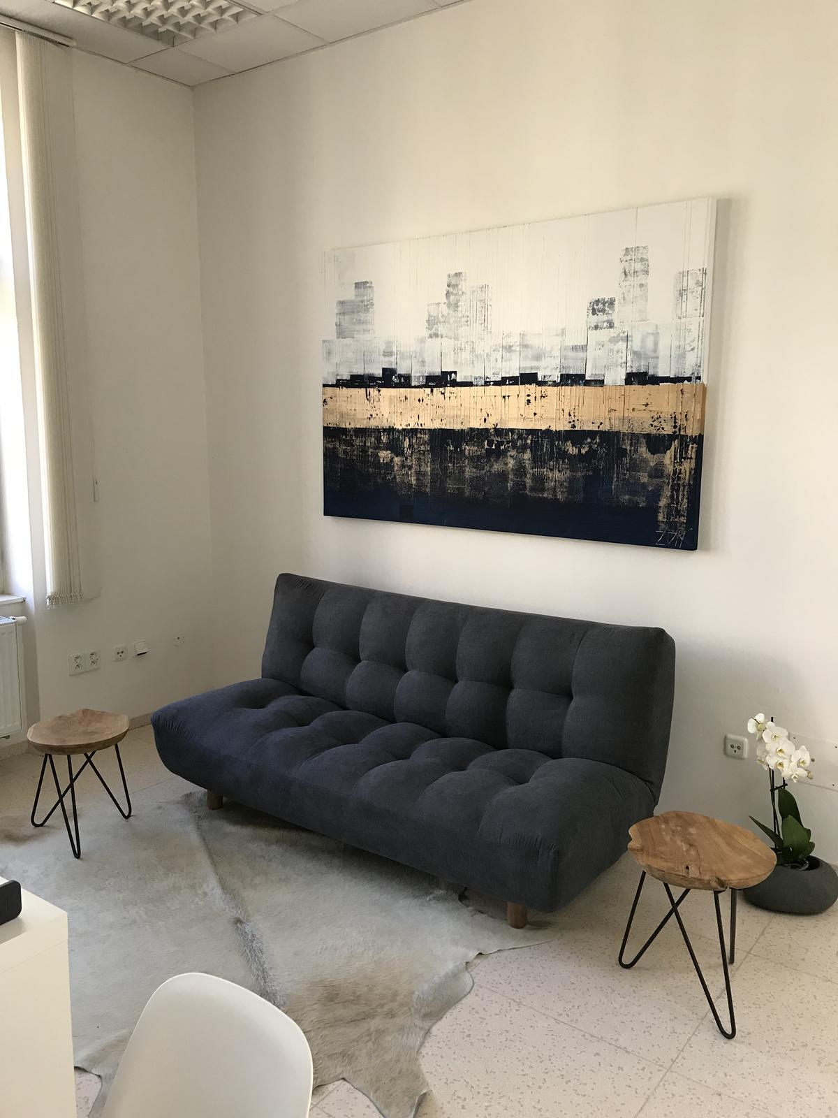 Mé obrazy v interiérech - Letní přístav II, 120x180 cm,cena  11900,-