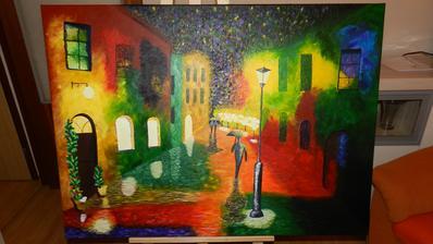 Fosforová farba na lampe, okná v ktorých sa svieti a aj hviezdičky keď sa pritmie sa objavia.