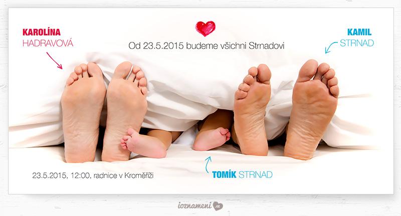 Svatební oznámení pro pro rodiny s dětmi - Svatební oznámení 144 - Rodina pod peřinou ( https://www.ioznameni.cz/produkt/svatebni-oznameni-144 )